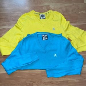 Lot of 2 express classic  blue & yellow v neck sweaters size XS